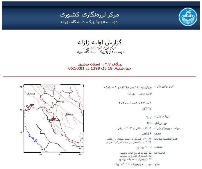 زلزله 4.7 ریشتری برازجان را لرزاند