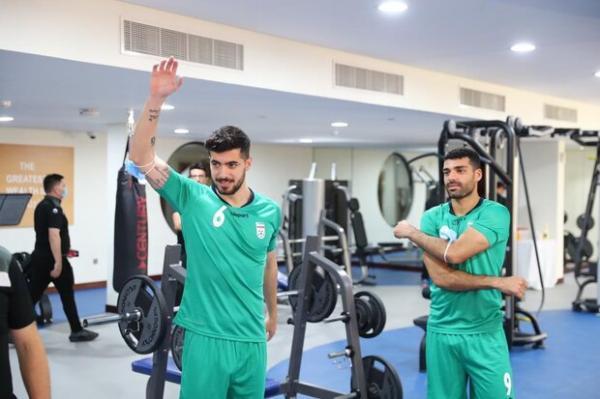 تمرین صبح تیم ملی فوتبال ایران در سالن وزنه برگزار گردید